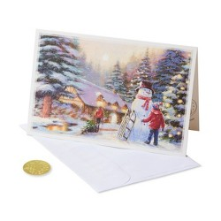12ct American Greetings Christmas Outdoor Kids And Snowman Scene Boxed Greeting Cards and White Envelopes