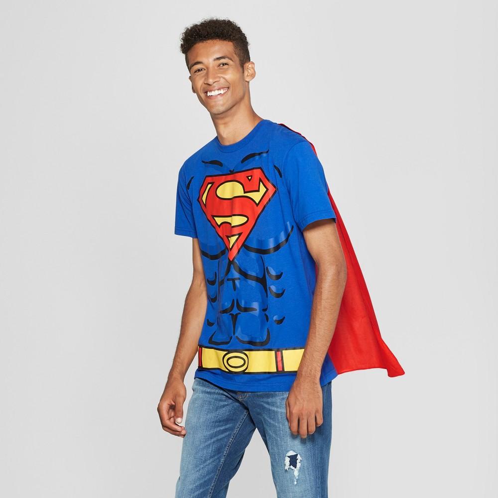 Men's DC Comics Superman Caped Short Sleeve T-Shirt - Royal Blue XL
