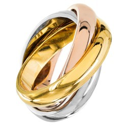 Women's Tri-Color Polished Interconnecting Links Stainless Steel Ring