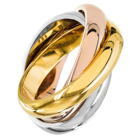 Women's Tri-Color Polished Interconnecting Links Stainless Steel Ring - image 1 of 3