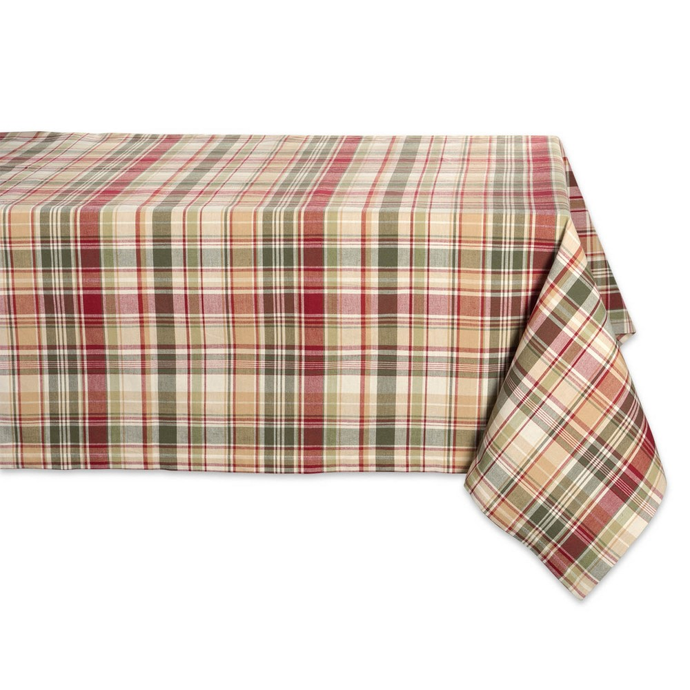 "Image of ""104""""x60"""" Give Thanks Plaid Tablecloth Tan - Design Imports, Brown Green Beige"""