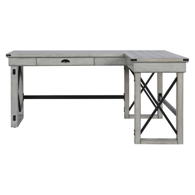 Hathaway L-Shaped Desk with Lift Top Rustic White - Room & Joy