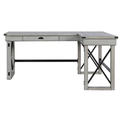 save off d77d6 3abe7 Hathaway L-Shaped Desk with Lift Top Rustic White - Room & Joy
