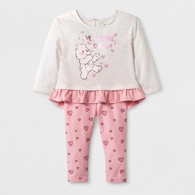 Baby Girls' Care Bears 2pc Long Sleeve T-Shirt and Leggings Set - Pink Newborn