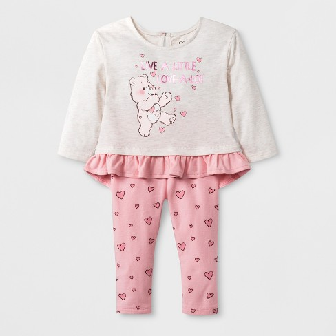 Baby Girls' Care Bears 2pc Long Sleeve T-Shirt and Leggings Set - Pink - image 1 of 2