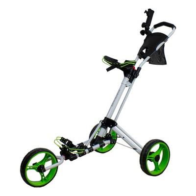 "Northlight 48"" White and Green Easy Folding 3 Wheel Golf Bag Push Cart"