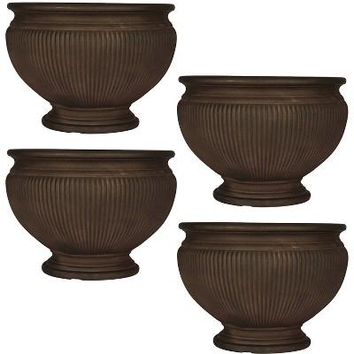 "Sunnydaze Indoor/Outdoor Patio, Garden, or Porch Weather-Resistant Double-Walled Elizabeth Ribbed Urn Flower Pot Planter - 16"" - Rust Finish - 4pk"