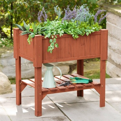 Rectangular Raised Rectangular Planter Box - Brown - Leisure Season