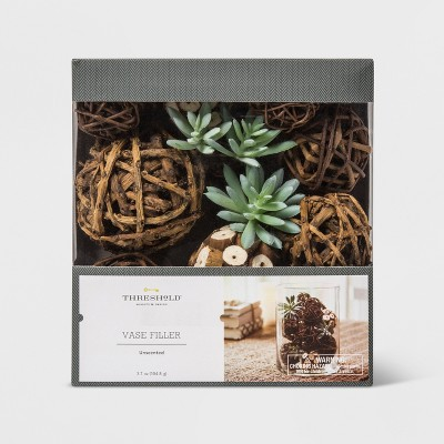 Unscented Succulent, Sola Log And Twig Balls Vase Filler Green/Brown - Threshold™