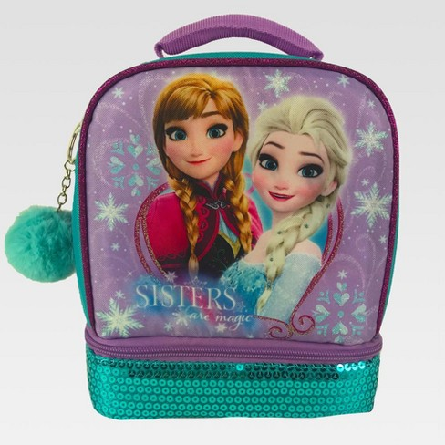 Disney Frozen Kids' Dual Compartment Lunch Bag with Sequins and Pom-Pom - Violet/Aqua - image 1 of 3