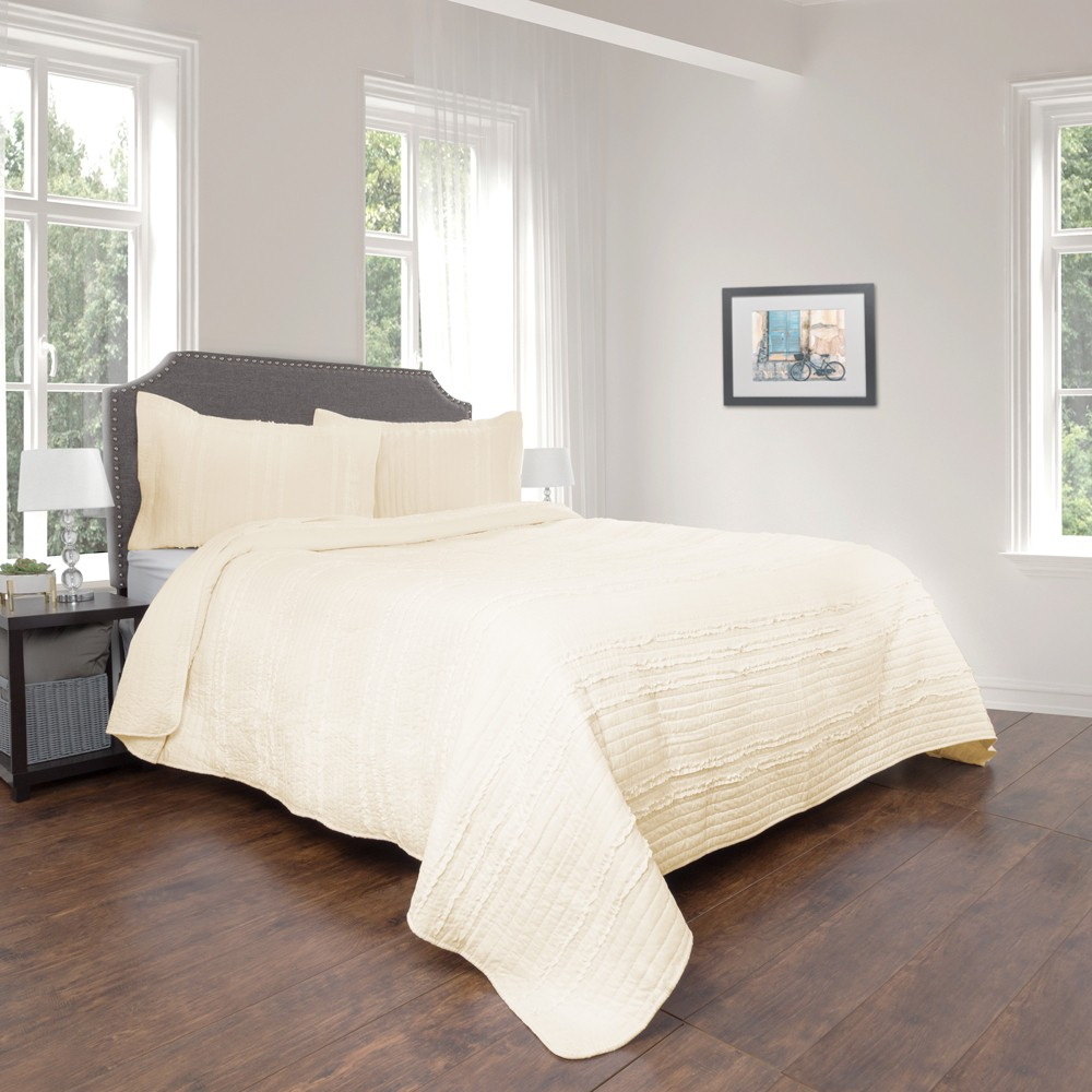 2pc Twin Hypoallergenic Oversized Striped Ruffle Quilt Set Ivory - Kadyn Series By Yorkshire Home