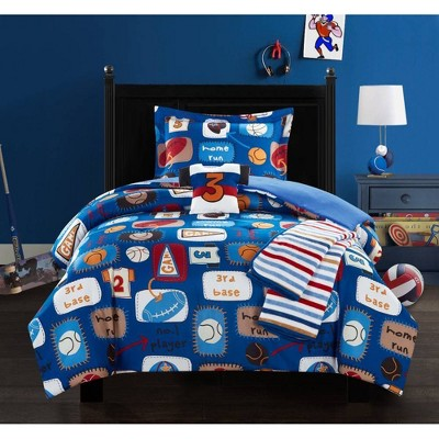 4pc Twin Fun Camp Comforter Set Blue - Chic Home Design