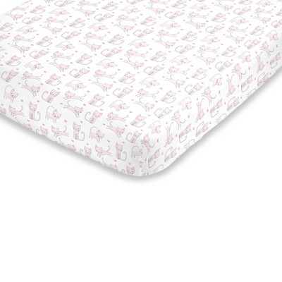 NoJo Super Soft Pink and White Purdy Kitty Cat Fitted Crib Sheet
