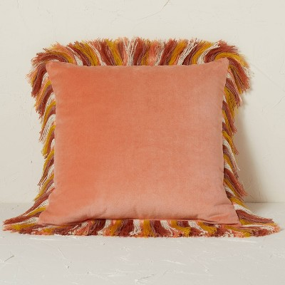 Velvet Square Throw Pillow with Fringe - Opalhouse™ designed with Jungalow™