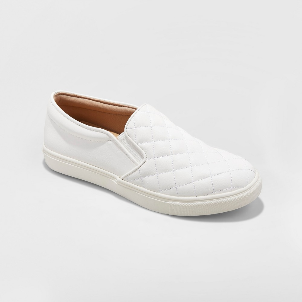 Women's Reese Wide Width Quilted Sneakers - A New Day White 12W, Size: 12 Wide