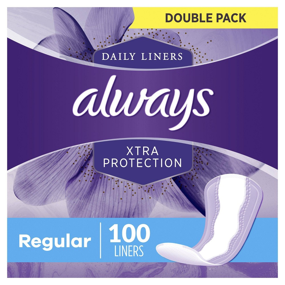 Always Xtra Protection Daily Liners Regular Unscented 100ct