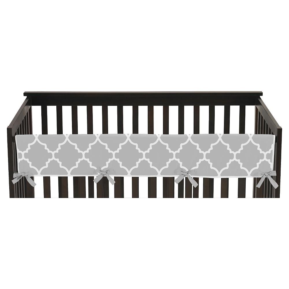 Image of Sweet Jojo Designs Gray & White Trellis Long Crib Rail Guard Cover - Gray, White Gray