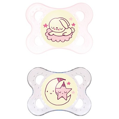 MAM Glow in the Dark Night Orthodontic Pacifier, 0-6 Months, 2-Count