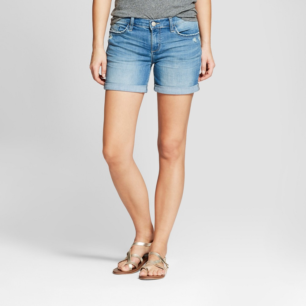Women's Mid-Rise Roll Cuff Jean Shorts - Crafted by Lee Light Wash 12, Blue