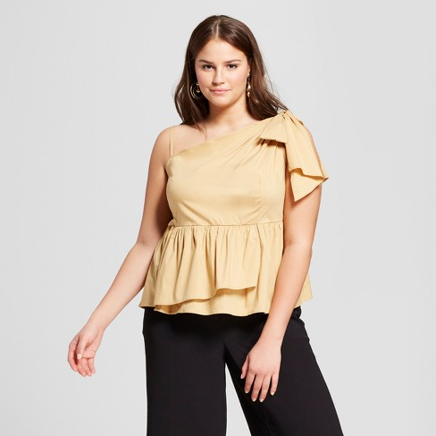 Women's Plus Size One Shoulder Peplum Blouse - Who What Wear™ - image 1 of 3