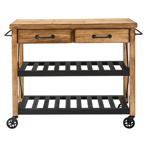 Roots Rack Industrial Kitchen Cart Wood Natural Crosley