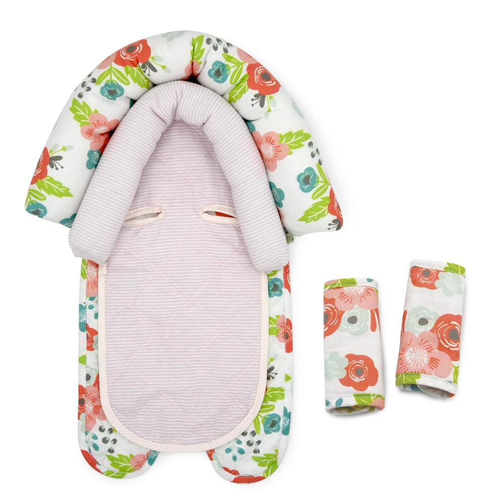 Image of GO by Goldbug Floral Duo Car Seat Head Support and Strap Set