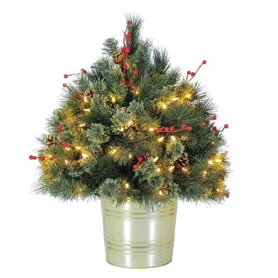 Home Heritage 26 Inch Artificial Holiday Shrub for Indoor/Outdoor w/ LED Lights