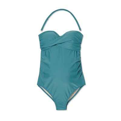 Maternity Bandeau Twist One Piece Swimsuit - Isabel Maternity by Ingrid & Isabel™ Teal
