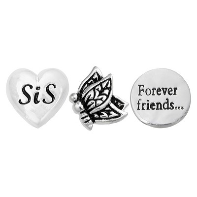 """Treasure Lockets 3 Silver Plated Charm Set with """"Sister, Forever Friends"""" Theme - Silver"""