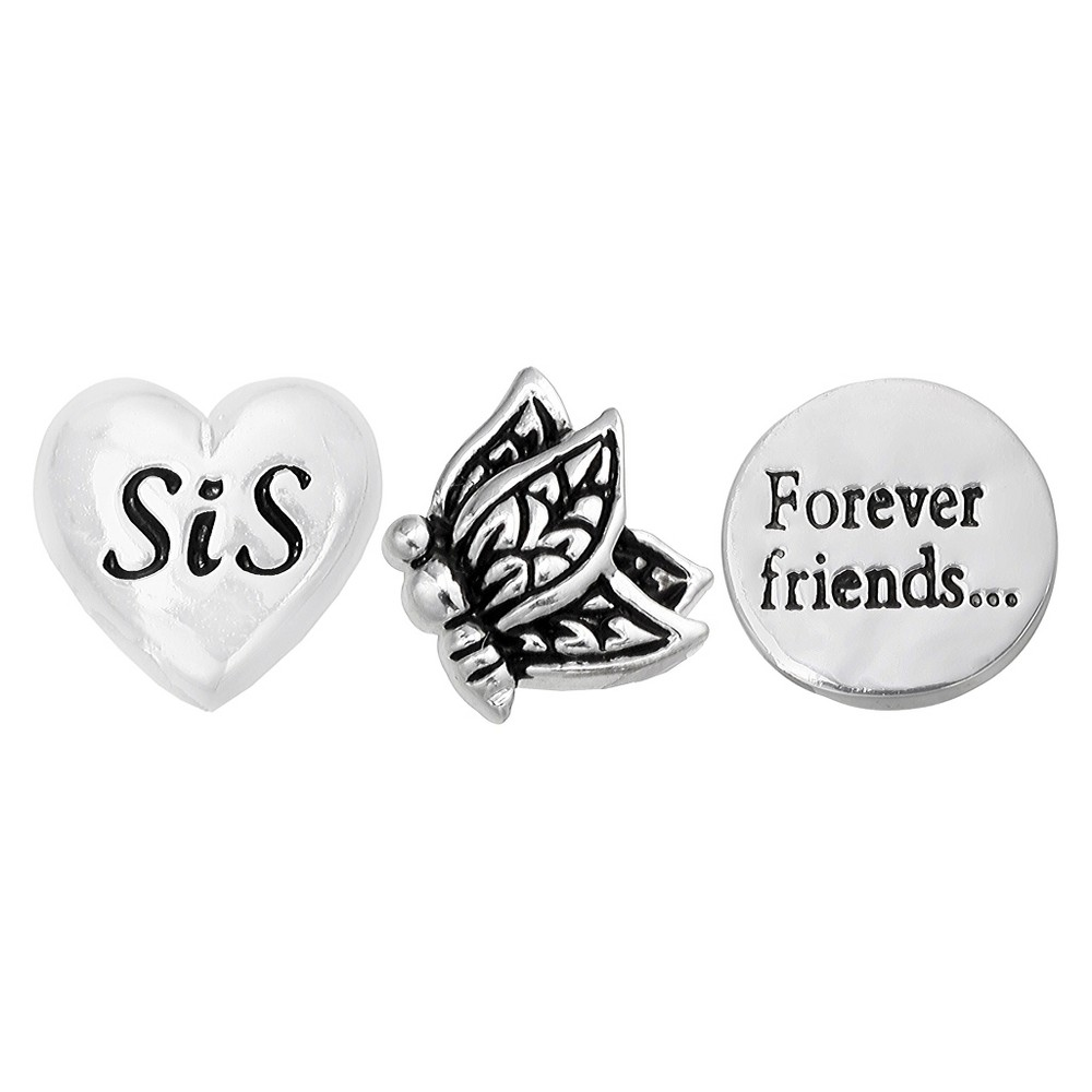 Treasure Lockets 3 Silver Plated Charm Set with