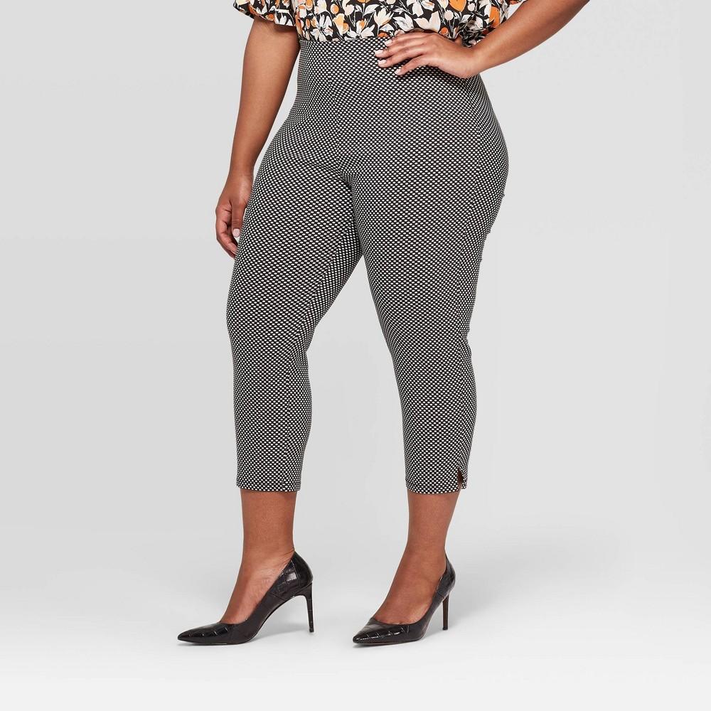 Women's Plus Size Polka Dot Mid-Rise Cropped Capri Pants - Who What Wear Black 26W