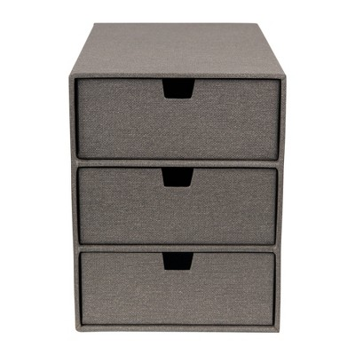 Ingrid 3-Drawer Canvas Supply Chest Gray - Bigso Box of Sweden