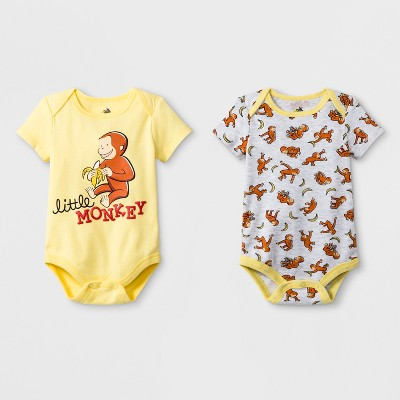 Baby Boys' 2pk Universal Curious George Short Sleeve Body Suit - Yellow/Gray 0-3M