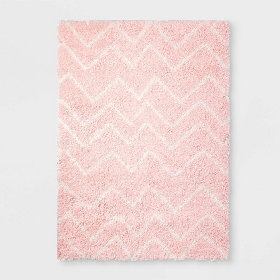 "48""x66"" Chevron Shag Area Rug Pink - Pillowfort™"