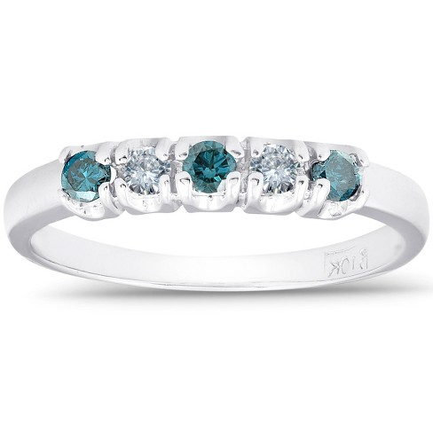 Pompeii3 1/4ct Treated Blue & White Diamond 5-Stone Wedding Womens Ring 10K White Gold - image 1 of 4