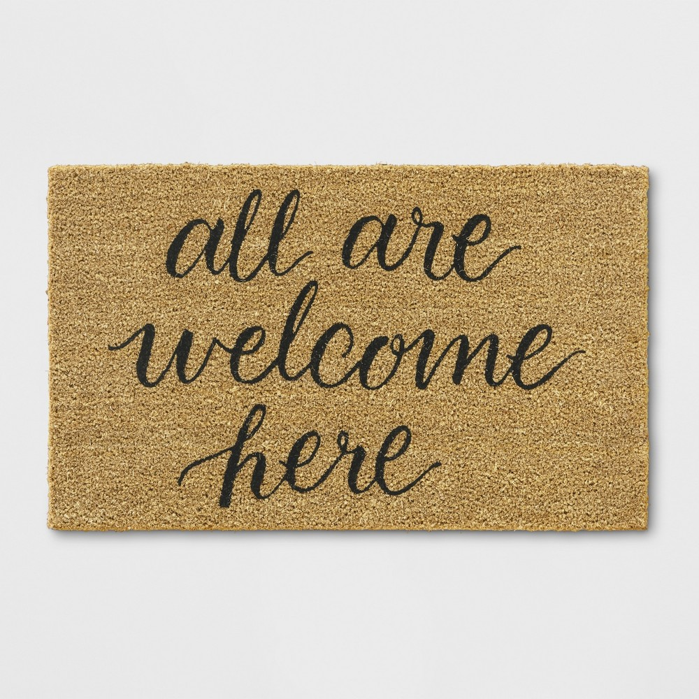 All Are Welcome Here Tufted Doormat Beige