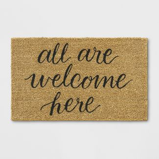 """1'6""""X2'6"""" All Are Welcome Here Tufted Doormat Beige - Threshold™"""