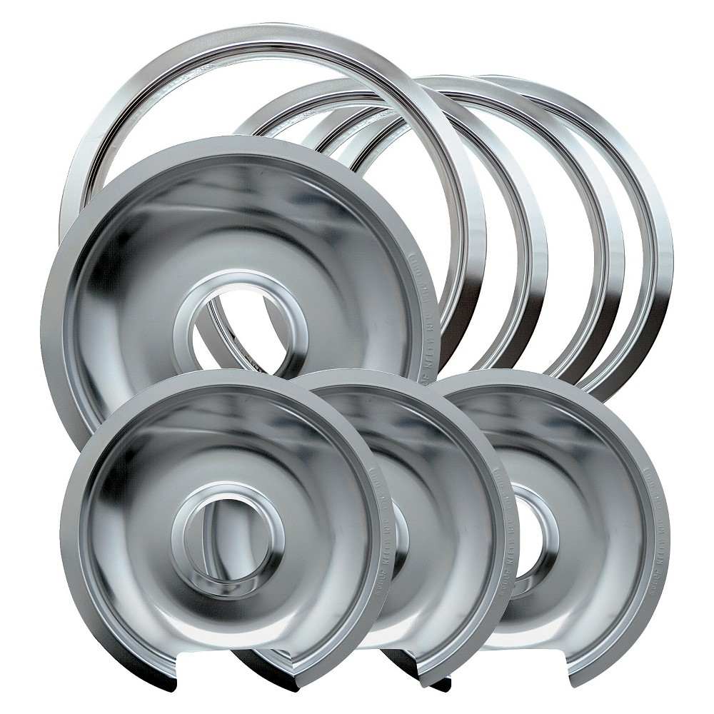 Image of Chrome Drip Pans and Trim Rings for GE Hotpoint Electric Stoves with Hinged Elements 8-pc., Chrm