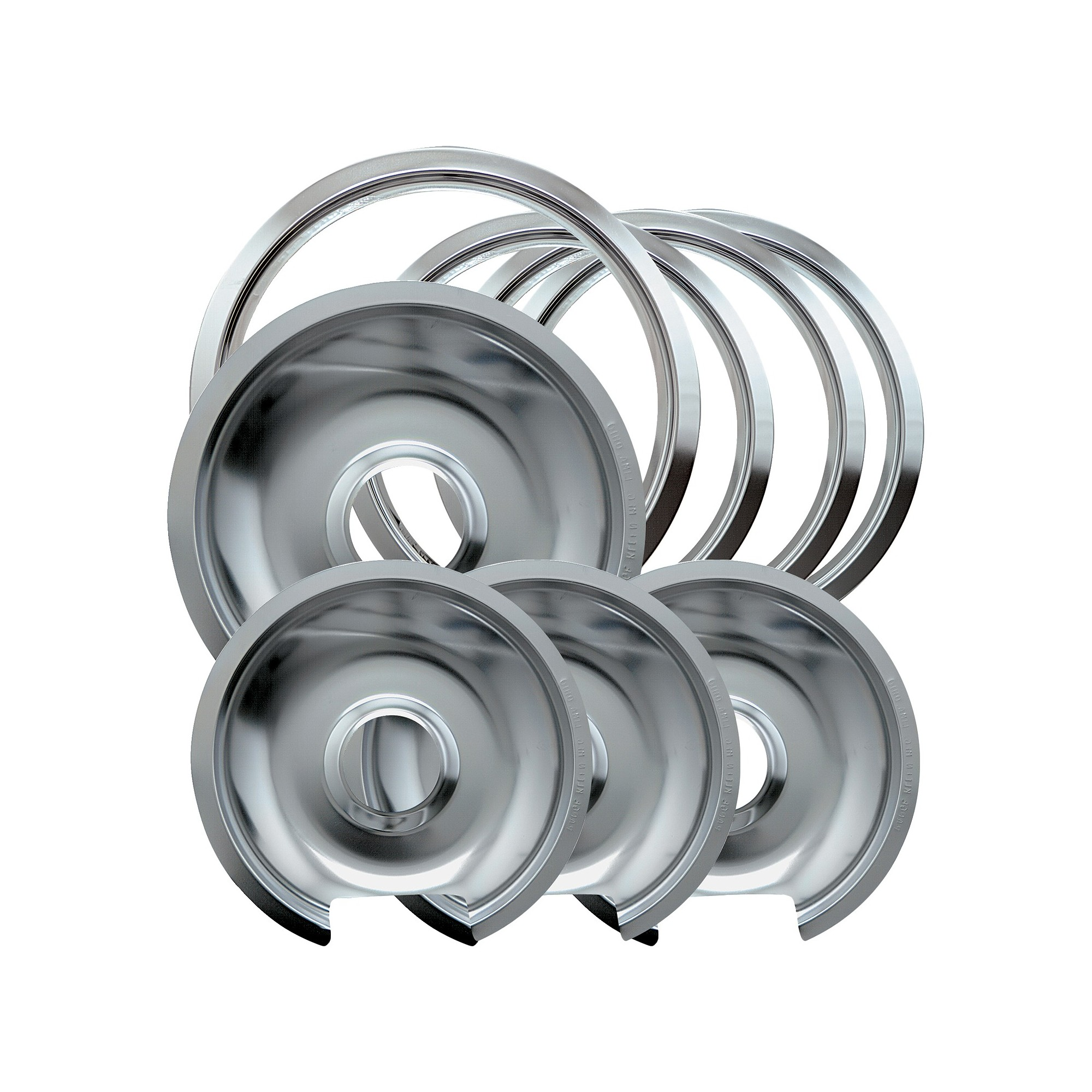 Chrome Drip Pans and Trim Rings for GE Hotpoint Electric Stoves with Hinged Elements 8-pc.