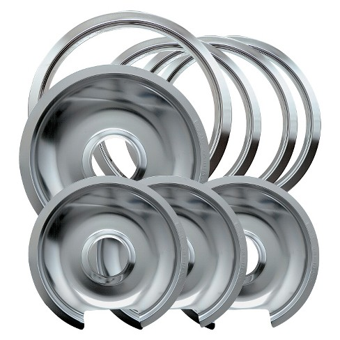 Chrome Drip Pans And Trim Rings For Ge Hotpoint Electric Stoves With Hinged Elements 8 Pc