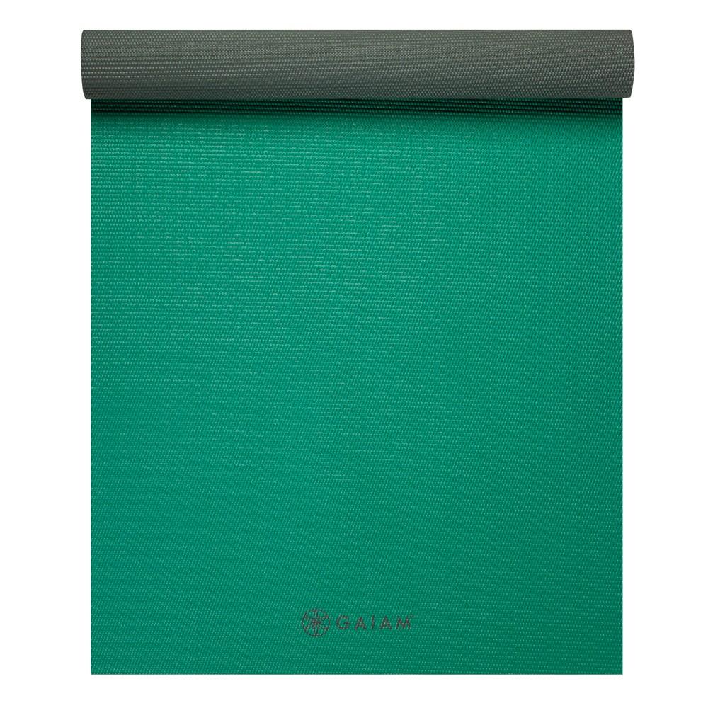 Gaiam 2 Color Yoga Mat - Green Storm(4mm), Green/Gray