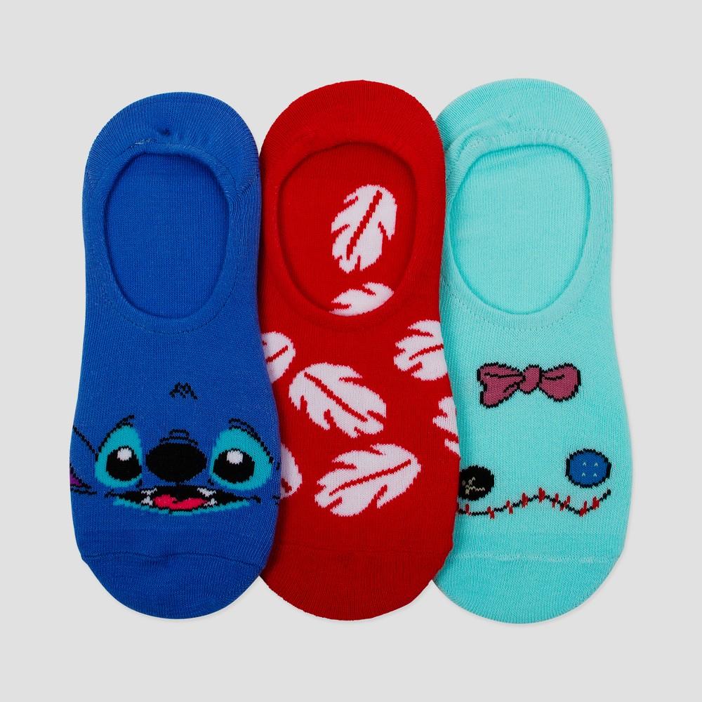 Women's Disney Lilo & Stitch Canoe Hugger 3pk Sock - Colors Vary 9-11, Multi-Colored