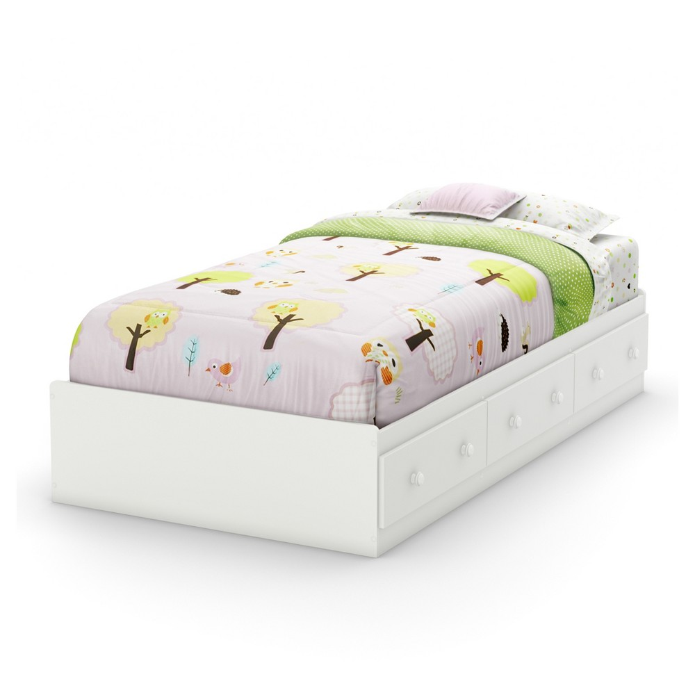 Savannah Mates Bed with 3 Drawers - Twin - Pure White - South Shore