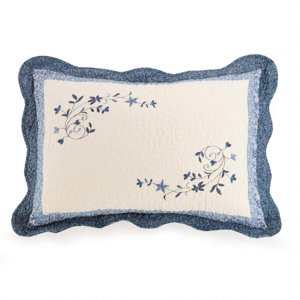 Modern Heirloom Standard Charlotte Bedspread Pillow Sham Blue