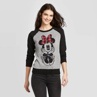Women's Disney Minnie Mouse Pullover Sweater (Juniors') - Gray L