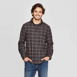 Men's Plaid Standard Fit Long Sleeve Flannel Button-Down Shirt - Goodfellow & Co™