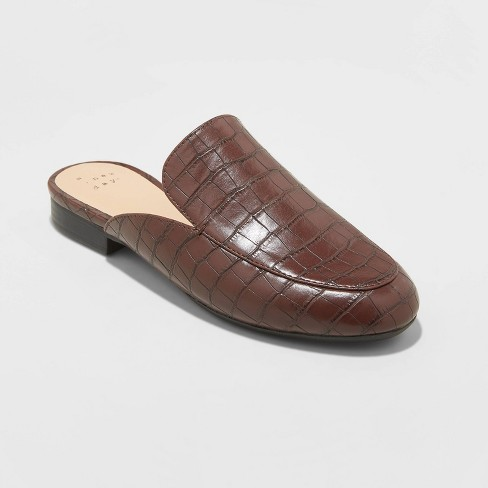 Women's Anney Faux Leather Crocodile Mules - A New Day™ Brown - image 1 of 3