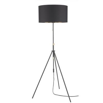 "69"" Modern Black & Gold Adjustable Tripod Floor Lamp - Nourison"