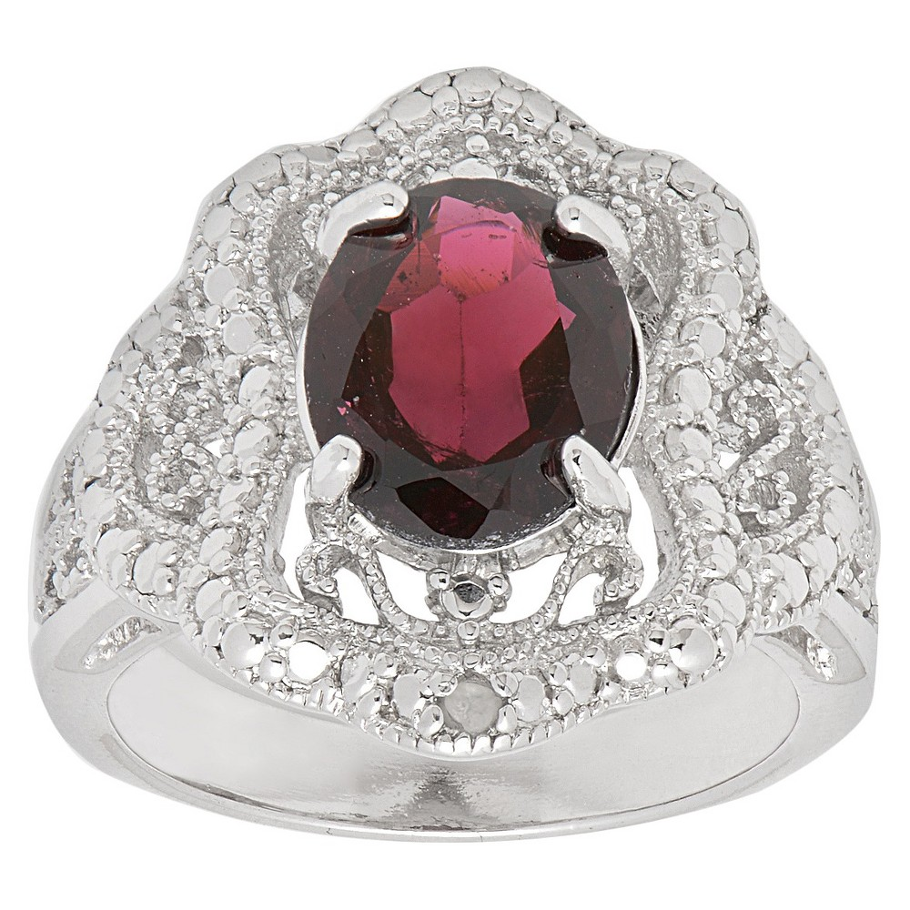Image of 0.01 CT. T.W. Accent Diamond and 2.5 CT. T.W. Garnet Cocktail Ring (Size 7), Women's, Red