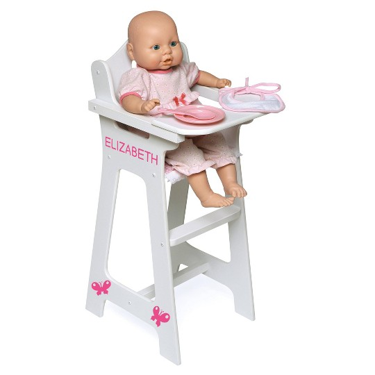 Badger Basket Doll High Chair with Accessories and Free Personalization Kit - White/Pink/Gingham image number null